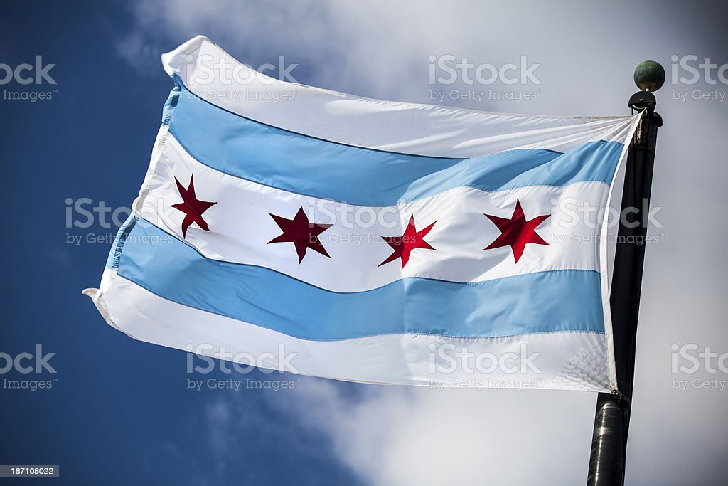 Chicago flag downtown stock photo
