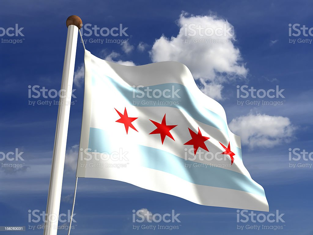 Chicago flag USA stock photo