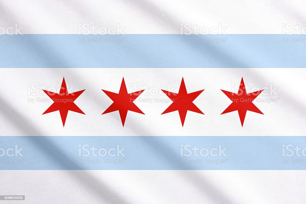 Chicago flag waving stock photo