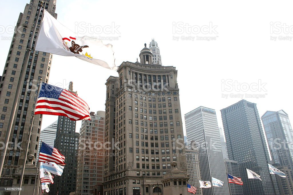 Chicago Flags stock photo