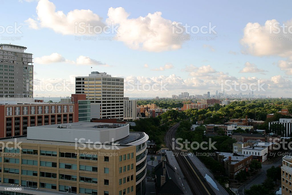 Chicago from Downtown Evanston royalty-free stock photo
