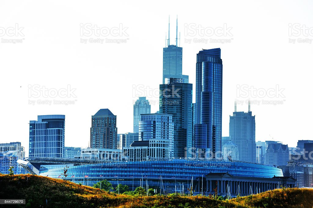 Chicago from Northerly Island stock photo