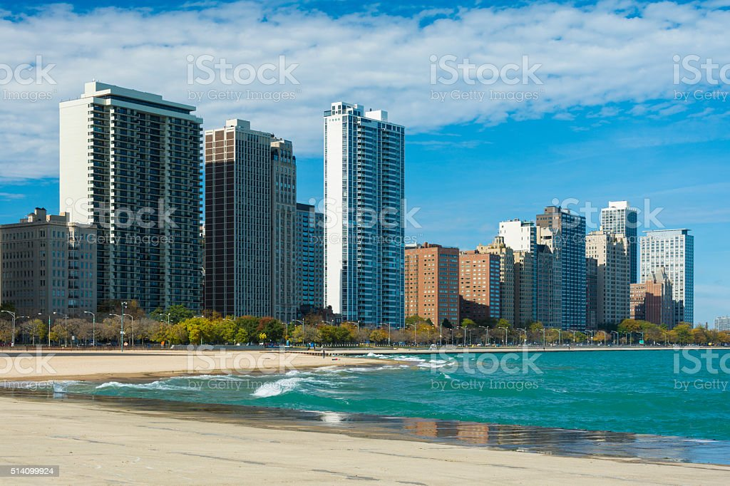 Chicago Gold Coast and Beach stock photo