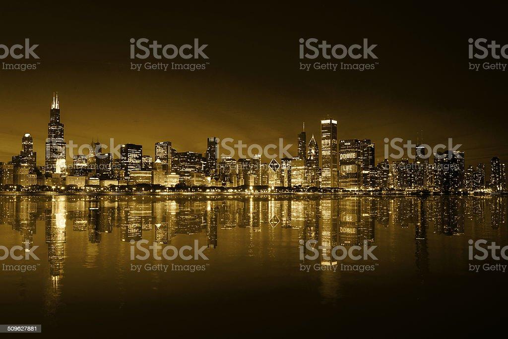 Chicago Gold Coast Skyline Night stock photo
