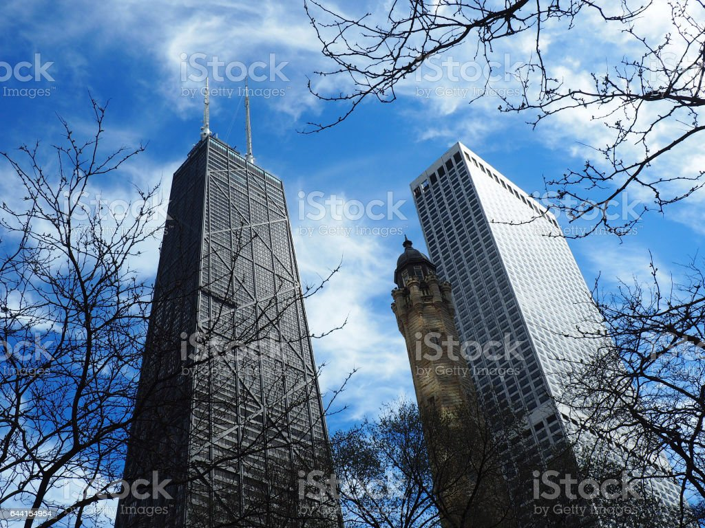 Chicago Hancock Water Tower Place Skyview stock photo