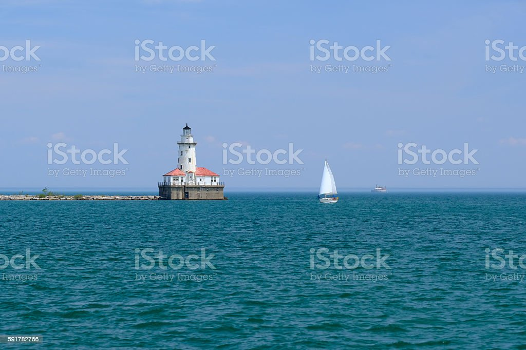 Chicago Harbor Lighthouse, built in 1893 stock photo