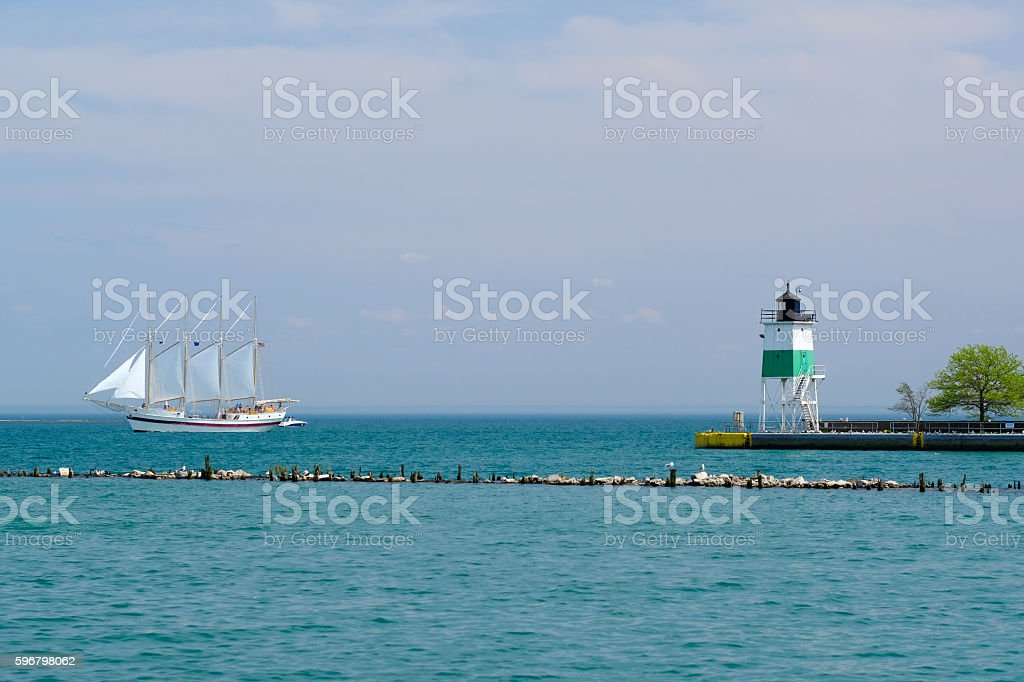 Chicago Harbor Southeast Guidewall Lighthouse stock photo