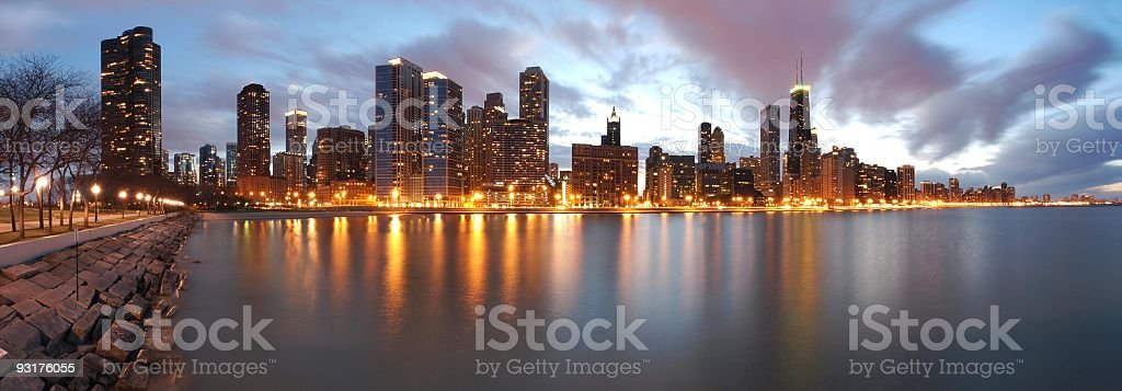 Chicago Illinois by night stock photo