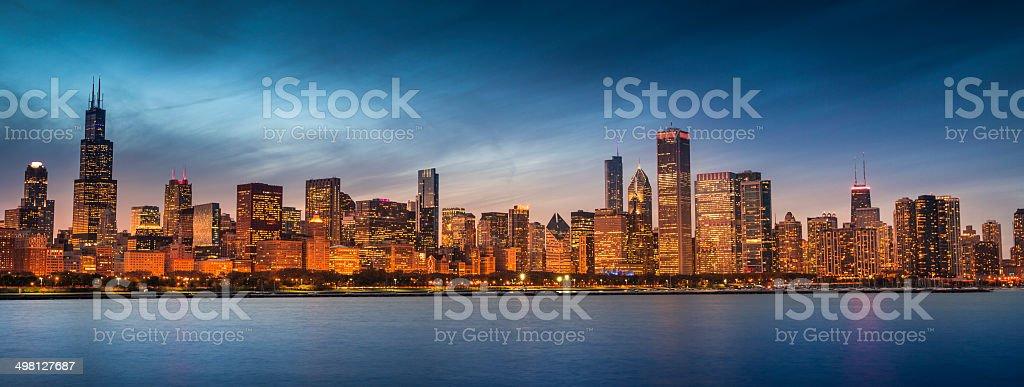 Chicago Illinois skyline panoramic stock photo