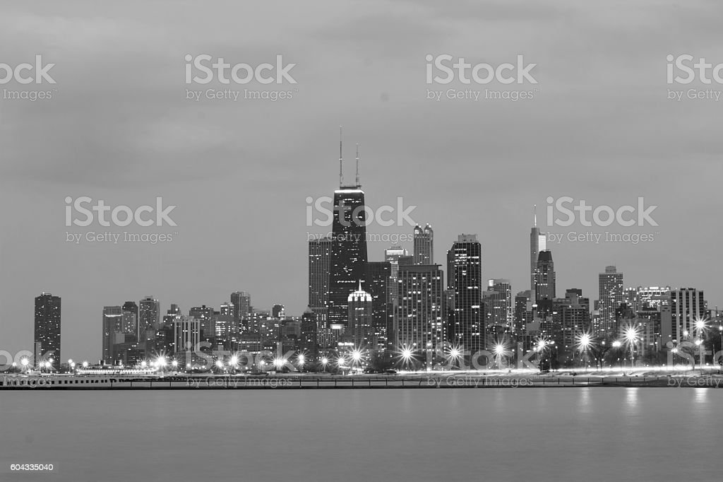 Chicago in black and white stock photo