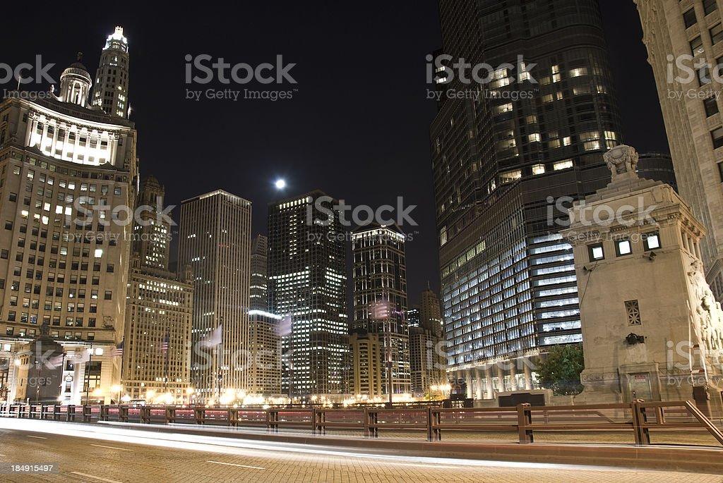 Chicago in the night - Michigan Bridge royalty-free stock photo