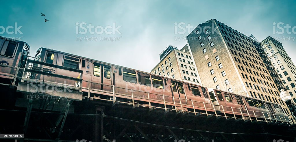 Chicago L train, Illinois stock photo