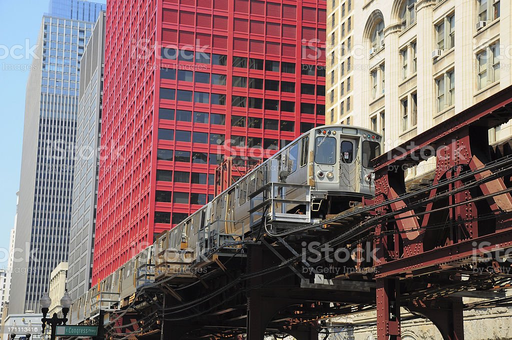 Chicago L train in the Downtown Loop Area stock photo