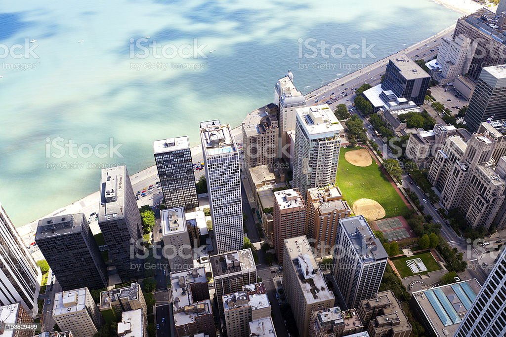 Chicago Lake Shore Drive Aerial View stock photo