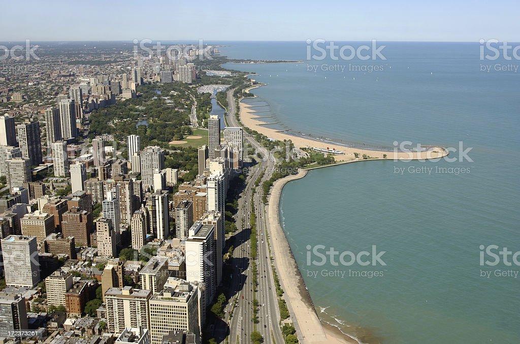 Chicago lake shore view stock photo