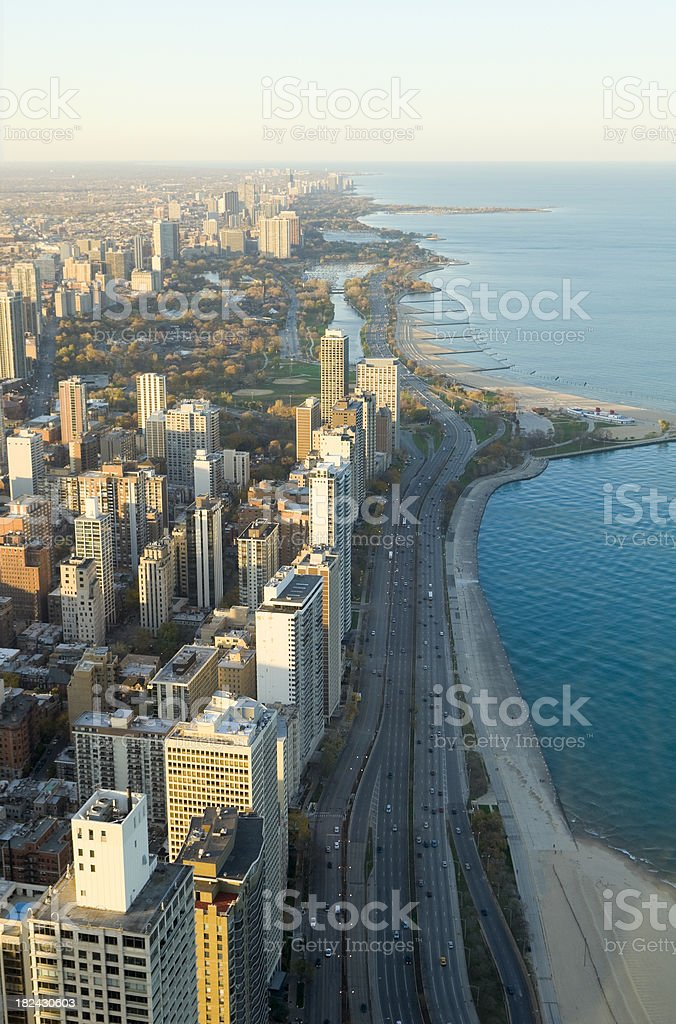 Chicago Lakefront at Sunset royalty-free stock photo