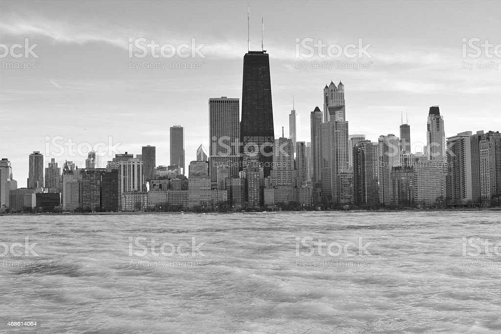 Chicago lakefront in black and white stock photo