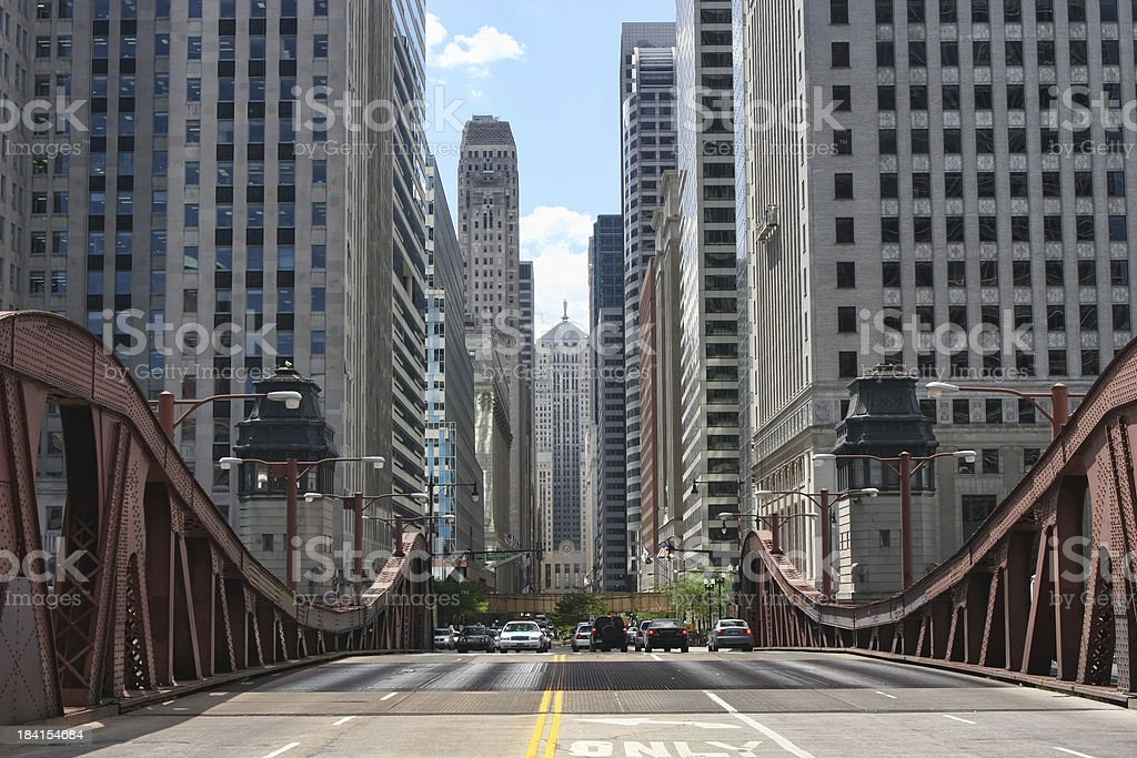 Chicago LaSalle Boulevard and Board of Trade stock photo