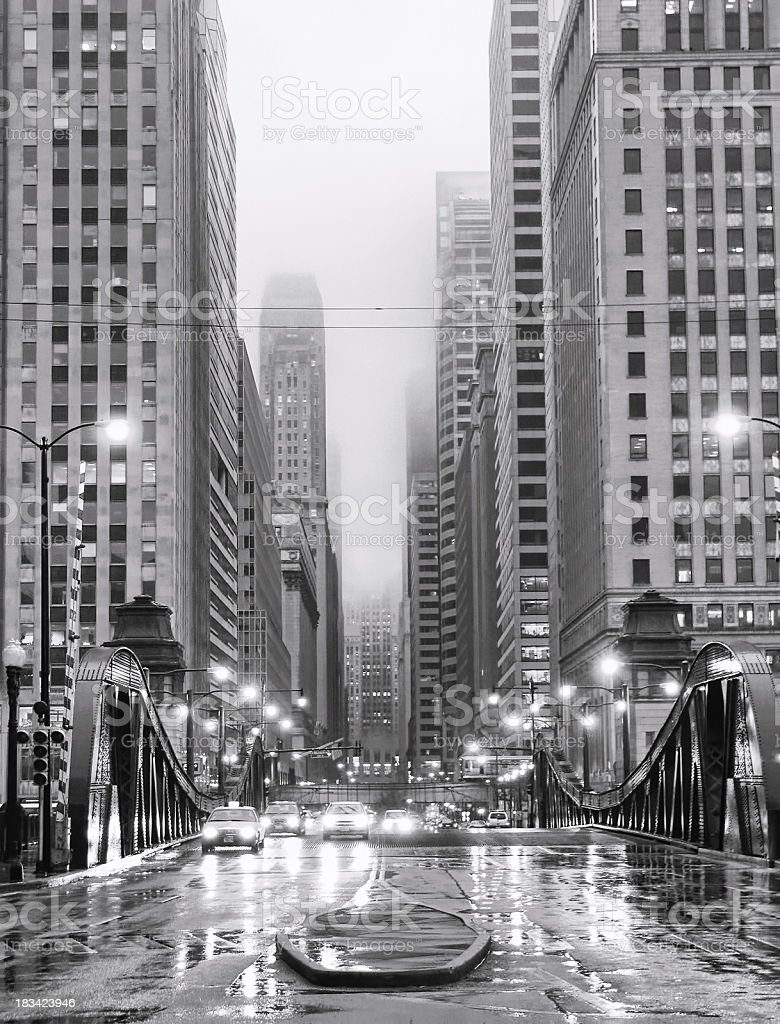 Chicago LaSalle Boulevard in Rain royalty-free stock photo