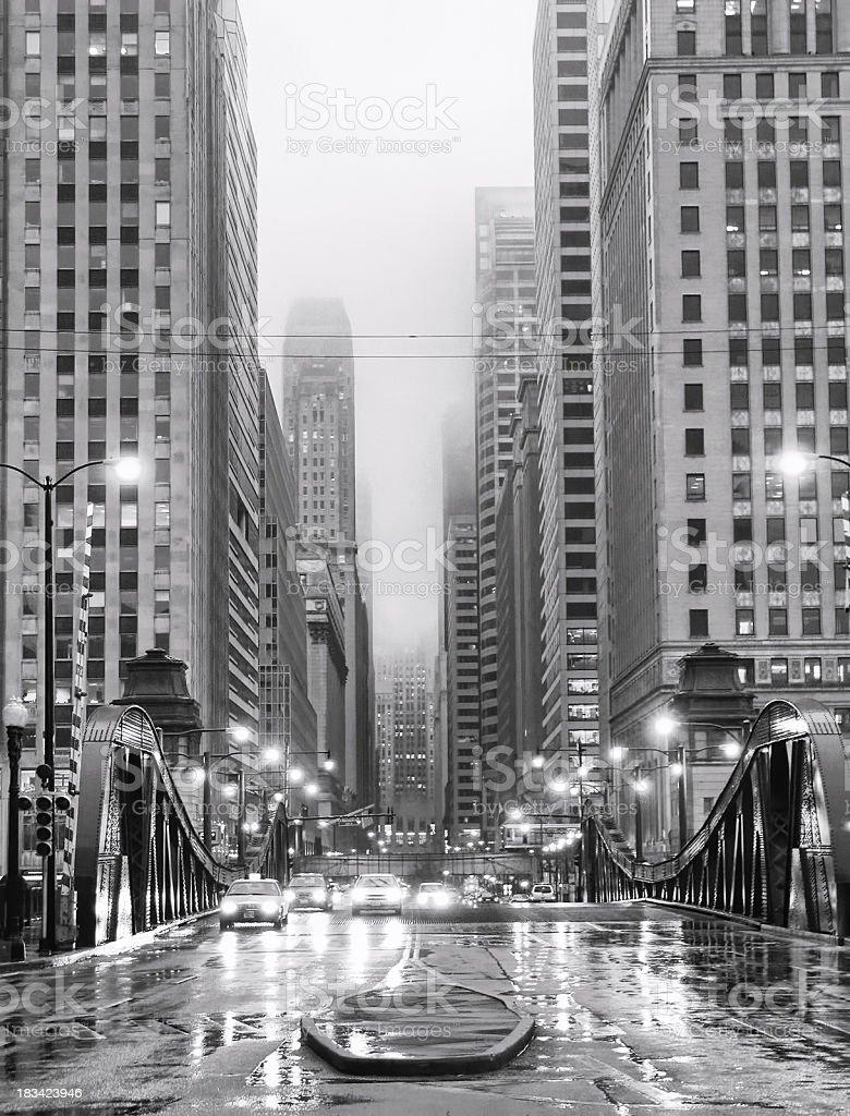 Chicago LaSalle Boulevard in Rain stock photo