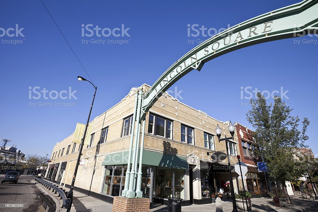 Chicago Lincoln Square Shops stock photo