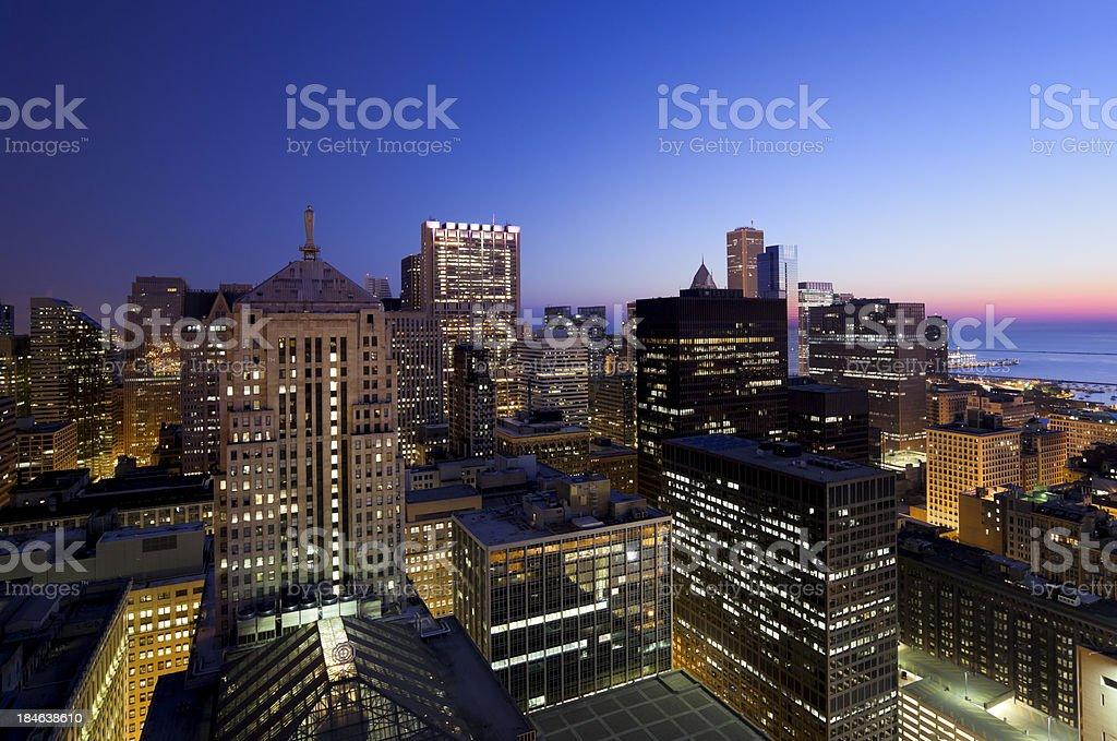 Chicago Loop at Dawn stock photo