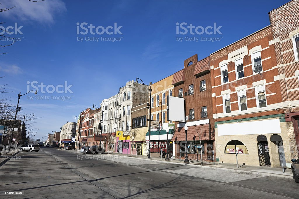 Chicago Lower West Side Shops stock photo