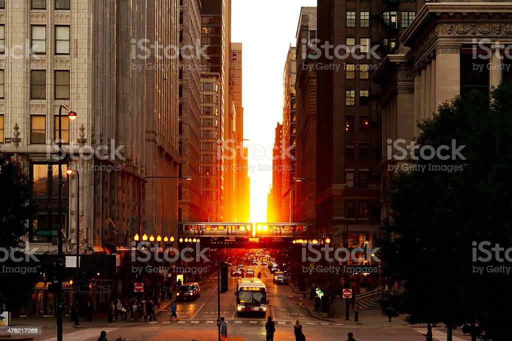 Chicago Magnificent Mile Sunset stock photo
