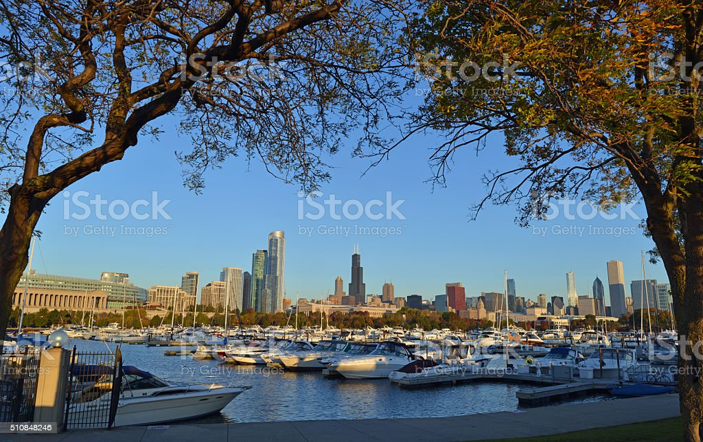 Chicago marina stock photo