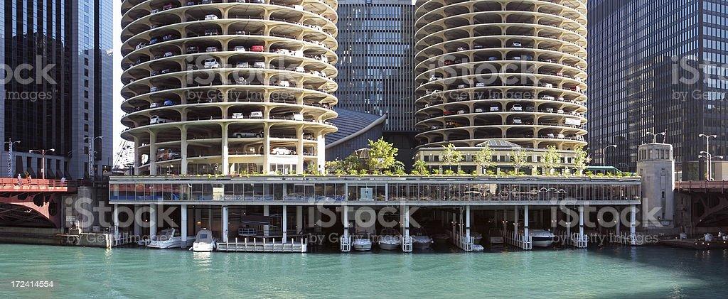 Chicago Marina Towers River Panorama stock photo