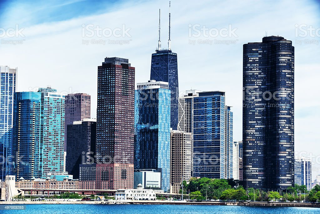 Chicago Marine Safety Station and Skyscrapers royalty-free stock photo