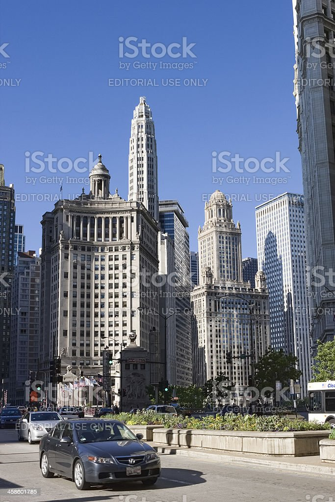 Chicago Michigan Avenue and Downtown stock photo