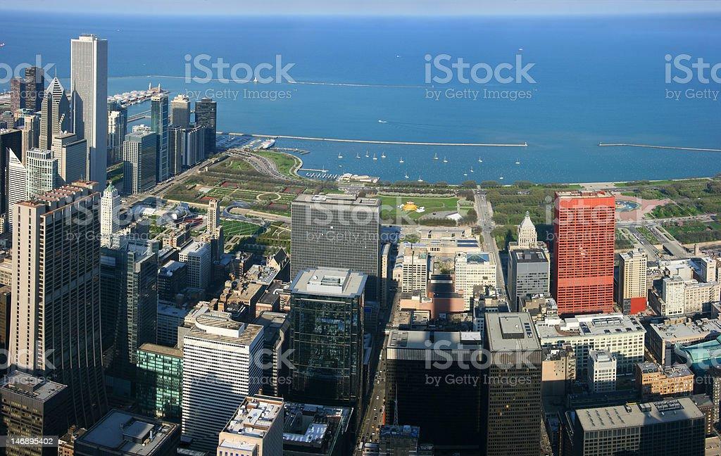 Chicago Millennium Park aerial panorama stock photo