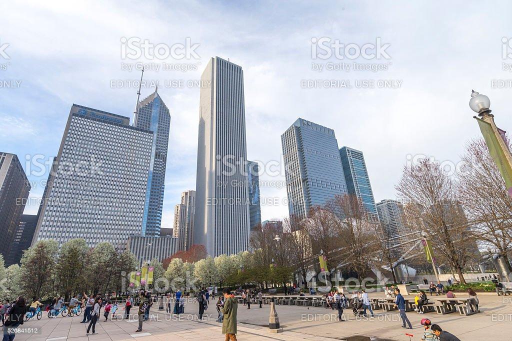 chicago millennium park in Downtown stock photo