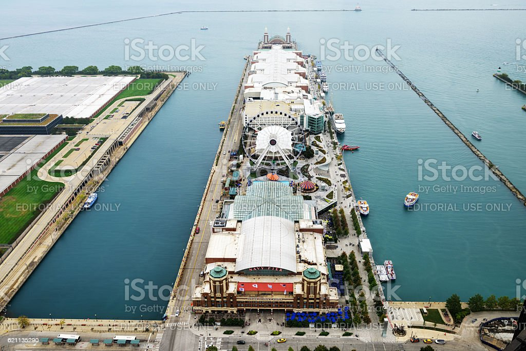 Chicago, Navy Pier from above stock photo