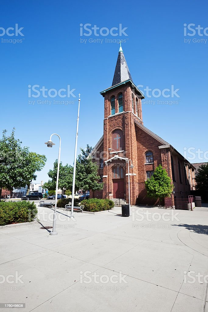 Chicago Neighborhood Church on the Lower West Side stock photo