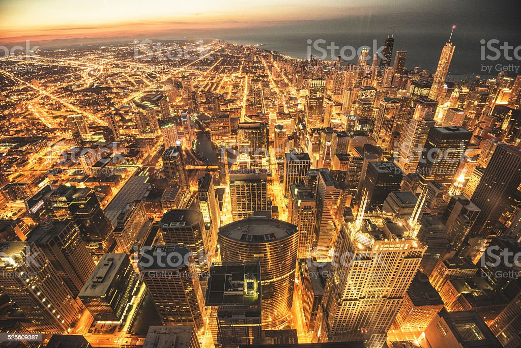 Chicago night downtown aerial view stock photo