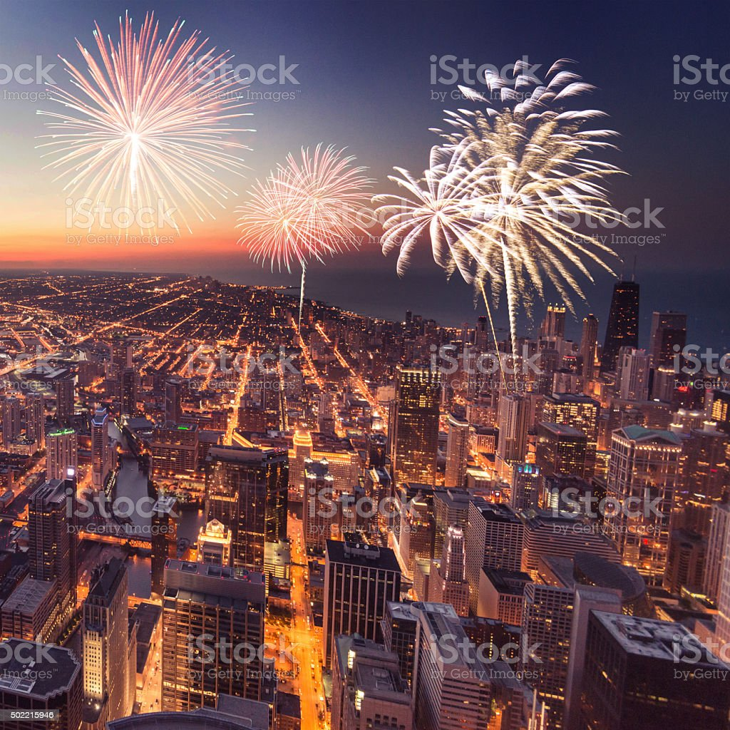 Chicago night downtown aerial view with fireworks stock photo