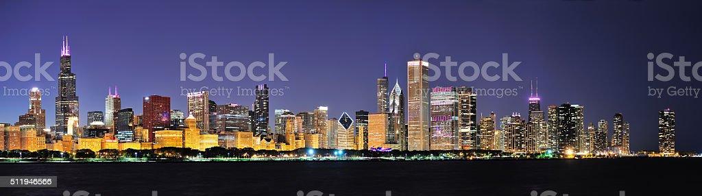 Chicago night panorama stock photo