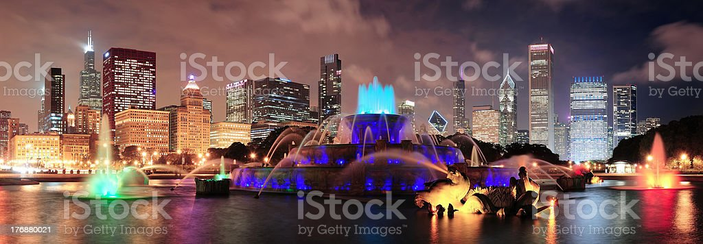 Chicago night scene stock photo