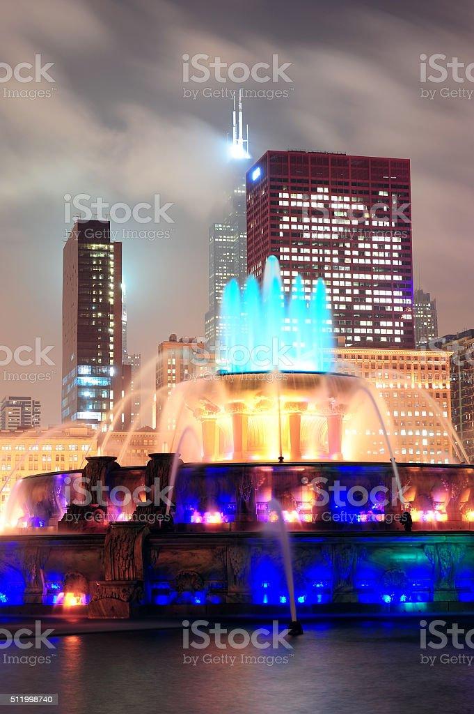 Chicago night scene stock photo