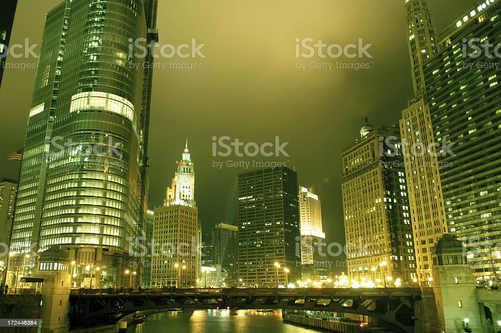 Chicago night time stock photo