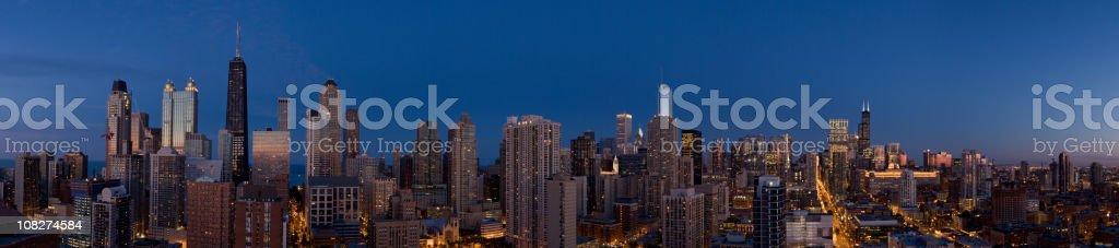 Chicago North Aerial Night Panoramic stock photo