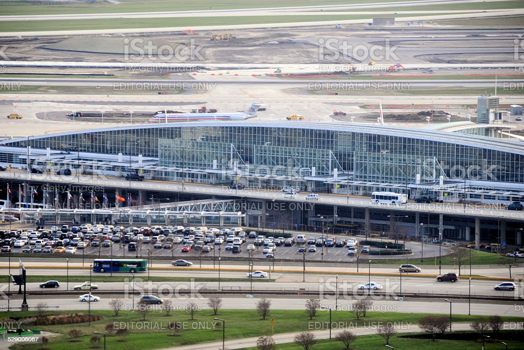 Chicago O'Hare International Airport, aerial view stock photo