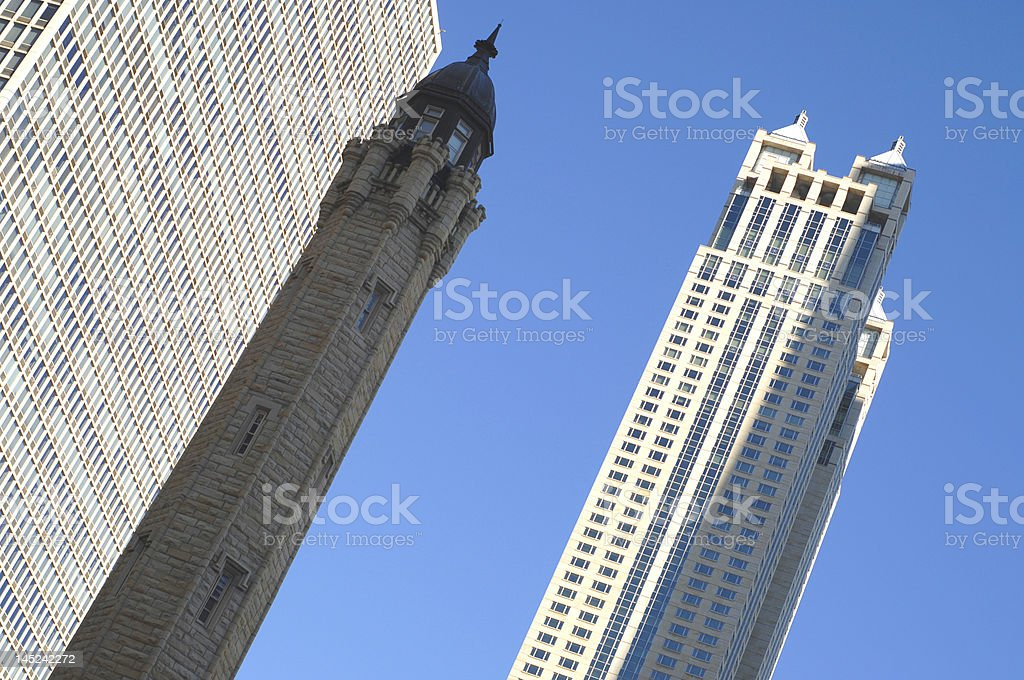 chicago old and new stock photo