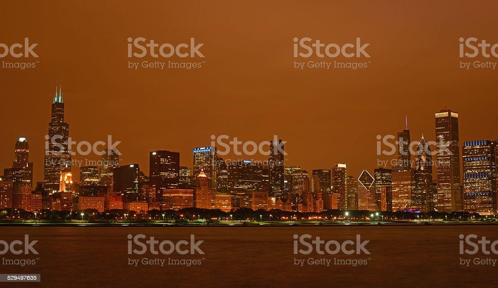 Chicago orange sky stock photo