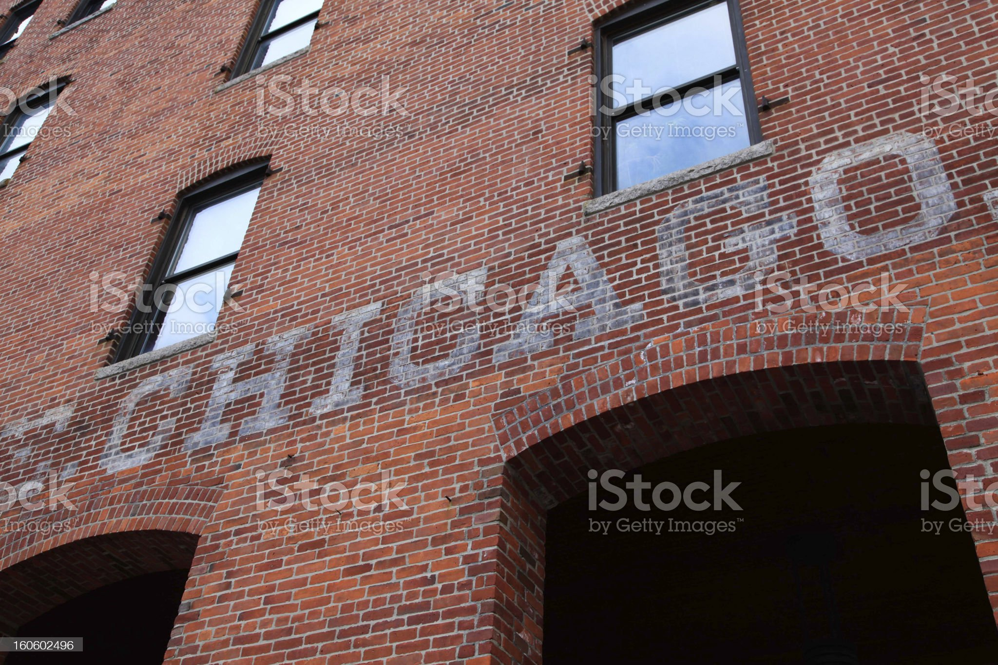 Chicago painted in brick wall royalty-free stock photo