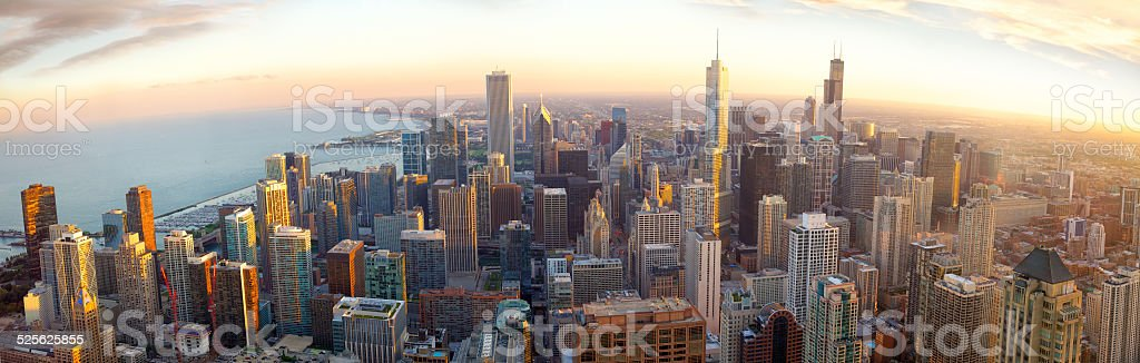 Chicago panorama at sunset stock photo