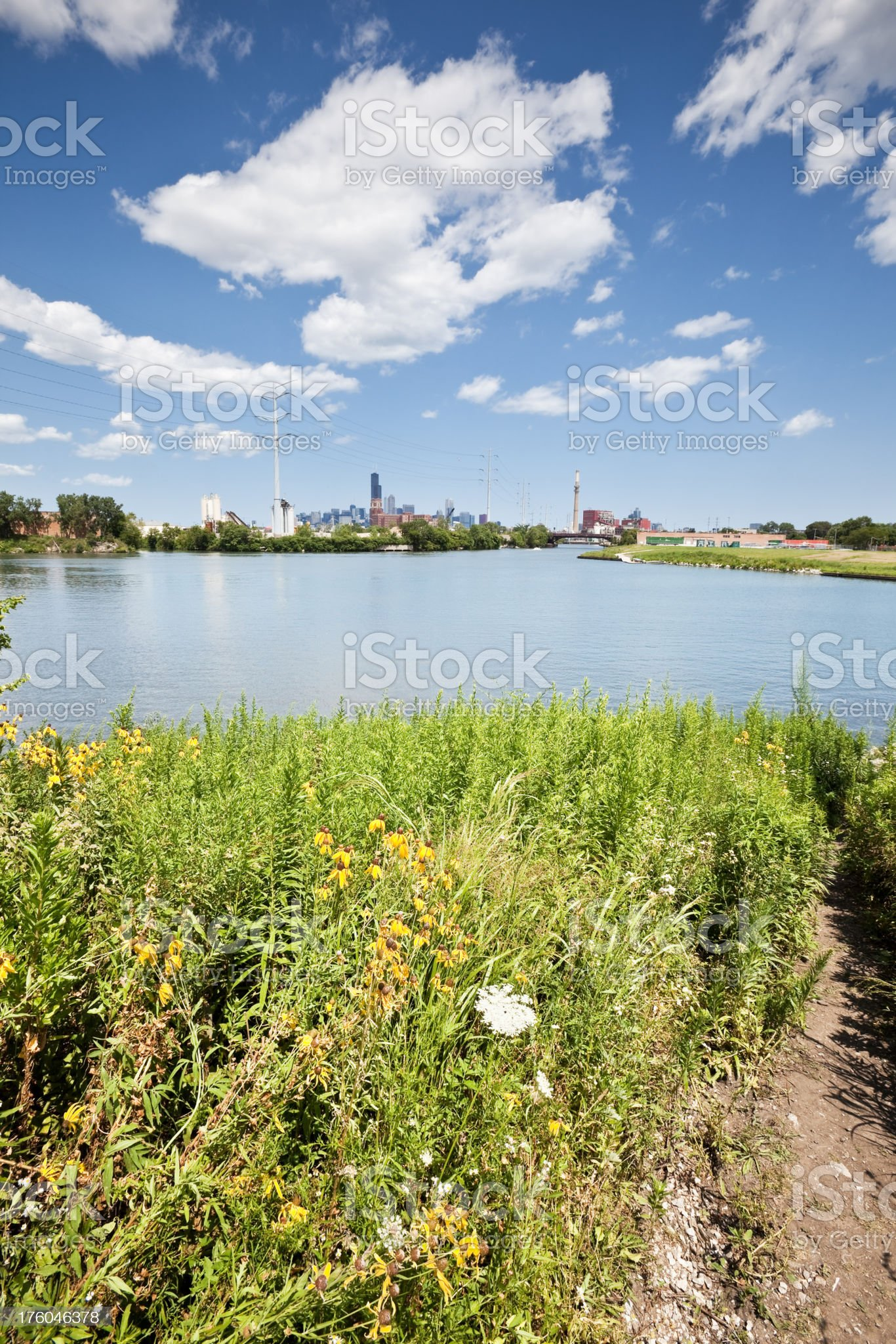 Chicago Prairie, River and Skyline royalty-free stock photo