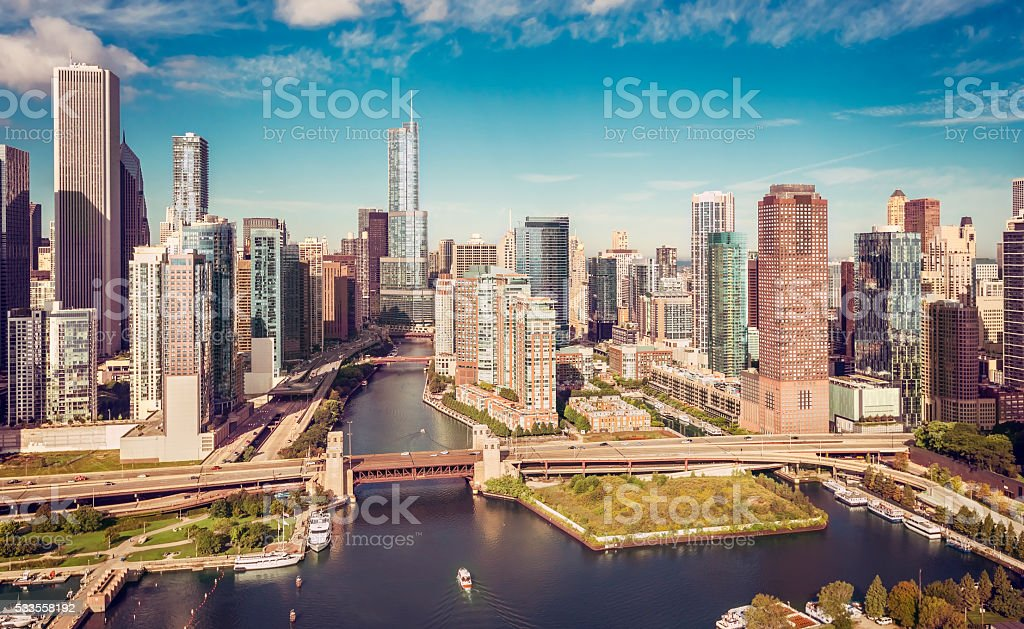 Chicago River aerial view stock photo